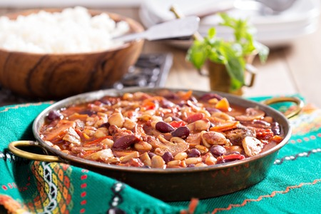 Vegan chili with beans, mushrooms, and vegetables