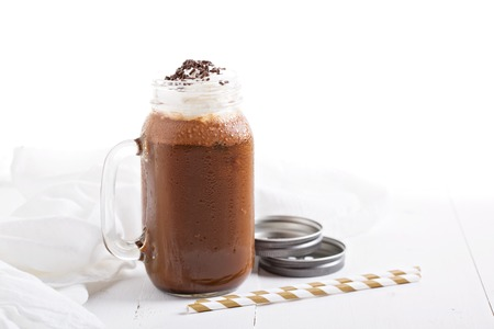 Photo for Chocolate coffee milk shake with whipped cream and sprinkles - Royalty Free Image