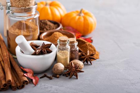 Homemade pumpkin pie spice in a glass jar