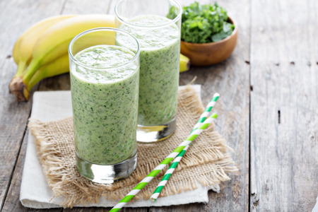 Green smoothie with banana and fresh kale