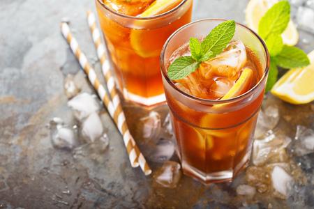 Traditional iced tea with lemon