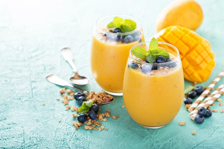 Mango smoothie in glasses