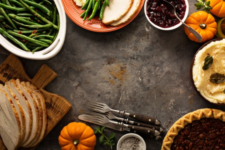 Photo pour Thanksgiving table overhead shot - image libre de droit