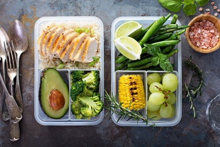 Photo for Healthy green meal prep containers with rice and vegetables - Royalty Free Image