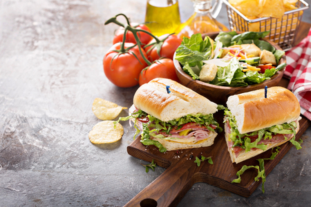 Photo for Italian sub sandwich with chips - Royalty Free Image