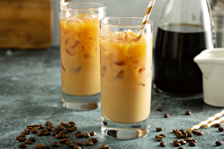 Photo for Cold brew iced coffee in tall glasses - Royalty Free Image