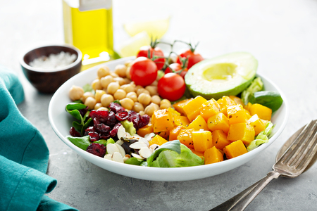 Photo for Vegan lunch bowl with chickpeas and roasted squash - Royalty Free Image