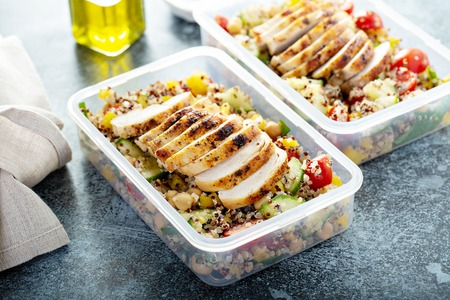 Photo for Fresh quinoa tabbouleh salad with grilled chicken - Royalty Free Image