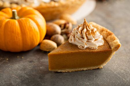 Photo for Traditional pumpkin pie with whipped cream - Royalty Free Image