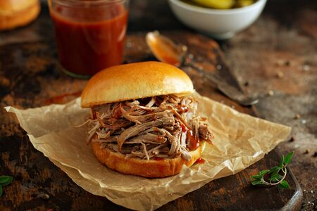 Photo for Pulled pork sandwich with brioche buns and pickles - Royalty Free Image