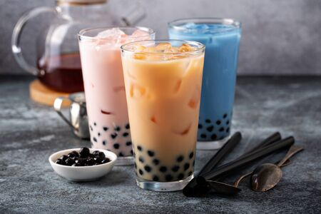 Photo for Variety of milk bubble tea in tall glasses - Royalty Free Image