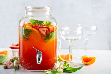 Photo for Strawberry, orange and basil sparkling punch, spring cocktail - Royalty Free Image