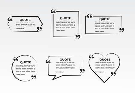 Illustration pour quote frame set collection. abstract speech bubble quotes - image libre de droit