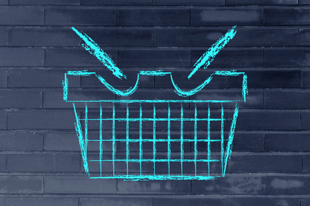 illustration of a funny shopping cart: marketing, retail industry and promotions
