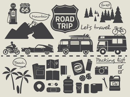 Illustration for road trip design elements,travel icon set - Royalty Free Image