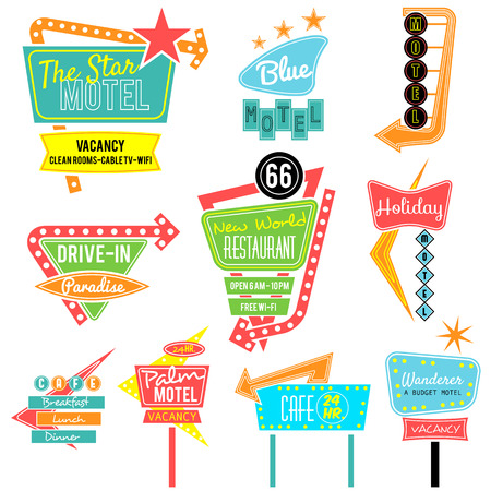Ilustración de vintage neon sign colorful collection,road trip - Imagen libre de derechos