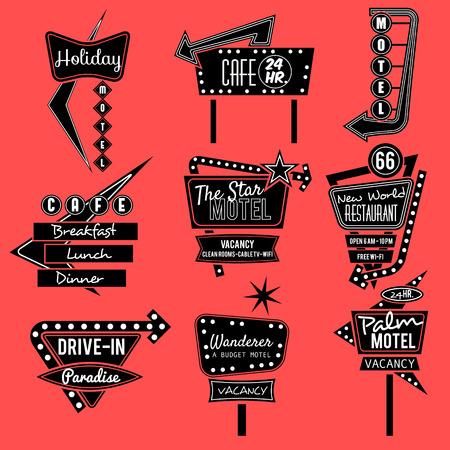 Illustration pour vintage neon sign,road trip,black and whit old sign - image libre de droit