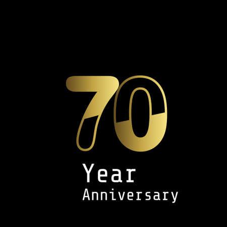 Illustration for 70 Years Anniversary Celebration Gold Black Background Color Vector Template Design Illustration - Royalty Free Image