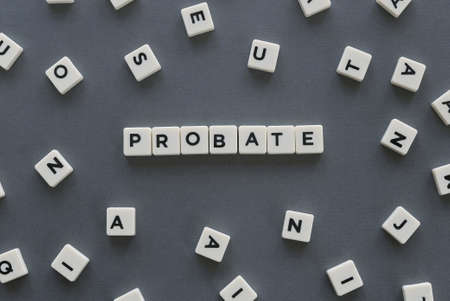 Photo pour Probate word made of square letter word on grey background. - image libre de droit