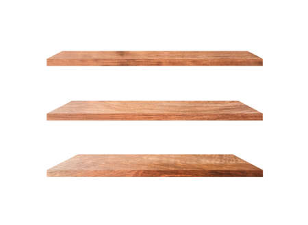 Photo pour Three wooden shelves isolated on white background with clipping path for your product or design - image libre de droit