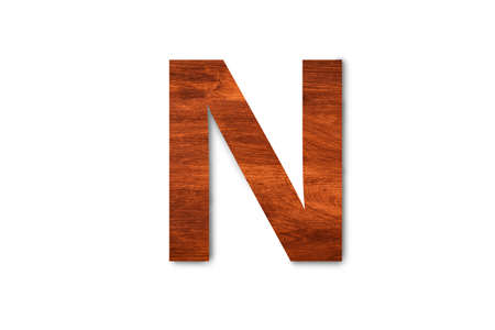 Modern wooden alphabet letter N isolated on white background with clipping path for design