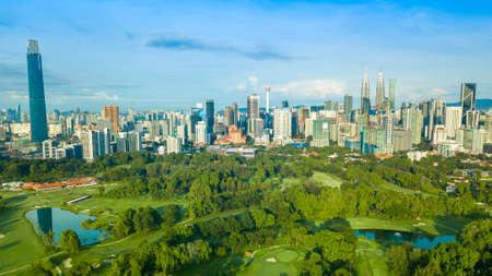 Photo for Aerial photo of cityscape and Beautiful Sunrise At Kuala Lumpur, Malaysia - Royalty Free Image