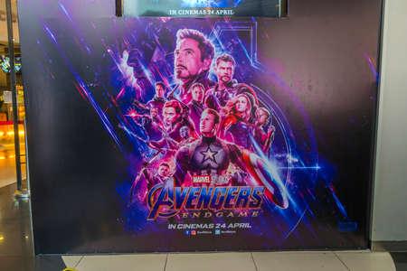 Photo pour KUALA LUMPUR, MALAYSIA - APRIL 19, 2019: The Avengers Endgame movie poster, is a 2019 American superhero film based on the Marvel Comics superhero team - image libre de droit