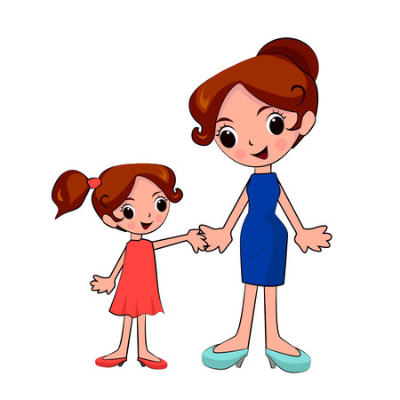 Vektor für Mother and daughter holding hands on a walk - Lizenzfreies Bild