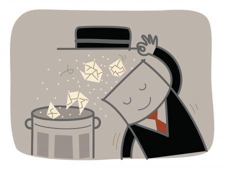 Illustration for businessman clear junk from his head - Royalty Free Image