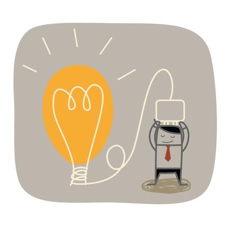 Illustration for business man plug idea bulb - Royalty Free Image