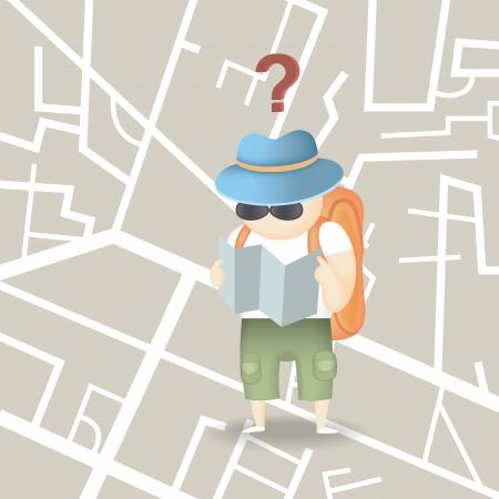 Illustration pour tourist backpack city - image libre de droit