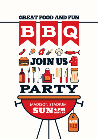 Illustration for grilled bbq party icon style for invitation car or flyer or poster - Royalty Free Image