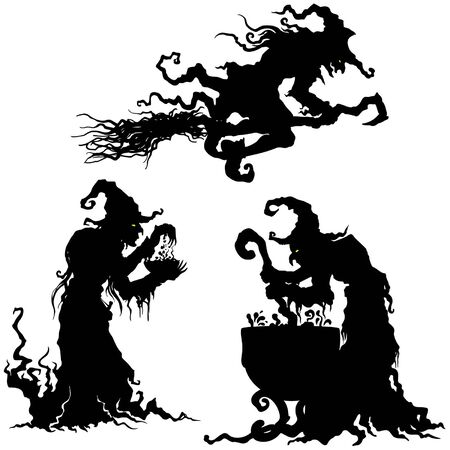 Illustration for Illustration fantasy grotesque witch women silhouettes - Royalty Free Image