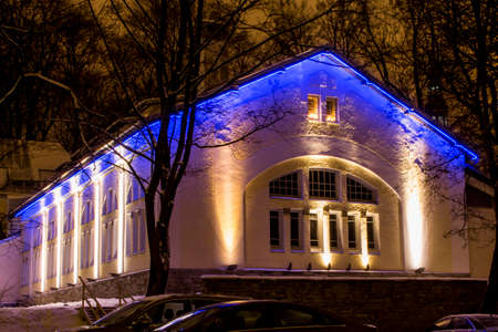 Night view of Estonian Christian Pentecostal Church in Tallin.