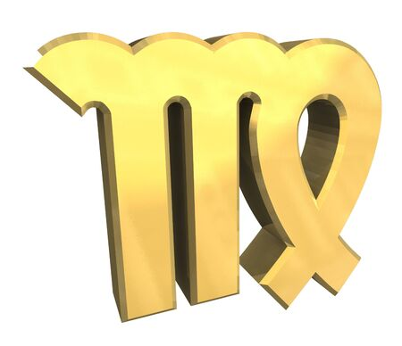 virgo astrology symbol in gold - 3d made