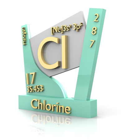 Chlorine form Periodic Table of Elements - 3d made