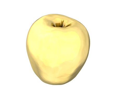 Golden apple on white background  High resolution 3D madeの写真素材