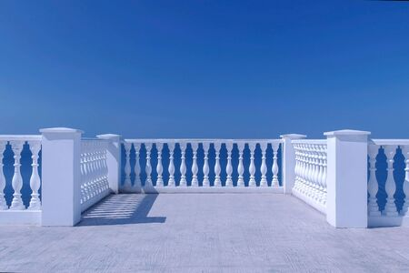 Photo for Beautiful terrace with decorative fence made of concrete and sea view at sunny day. - Royalty Free Image