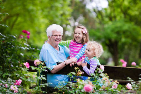 Happy senior lady playing with little boy and girl in blooming rose garden. Grandmother with grand children sitting on a bench in summer park with beautiful flowers. Kids gardening with grandparent.