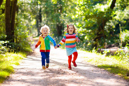 Photo pour Children hiking in forest and mountains. Kids play outdoor in summer. Little boy and girl on hike trail in national park. Outdoor fun and healthy activity. - image libre de droit