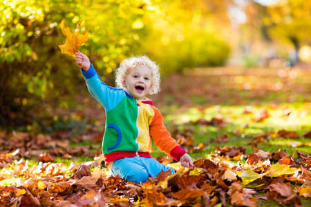 Foto für Kids play in autumn park. Children throwing yellow and red leaves. Little boy with oak and maple leaf. Fall foliage. Family outdoor fun in autumn. Toddler kid or preschooler child in fall. - Lizenzfreies Bild