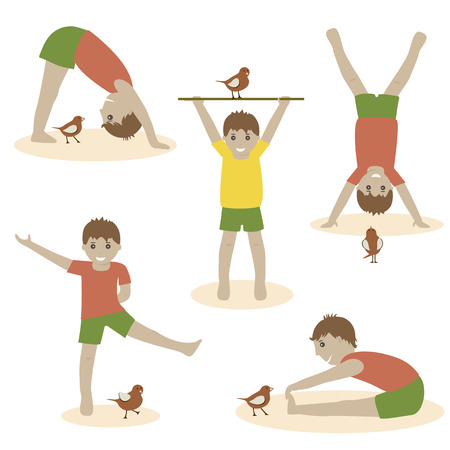 Illustration Of Cute Kids Exercising With Birdkids Diverse Of