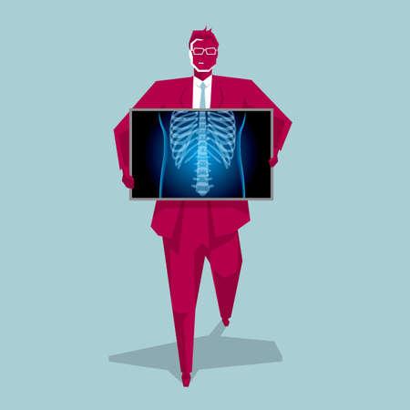 Illustration pour Medical imaging technology, chest disease. The background is blue. - image libre de droit