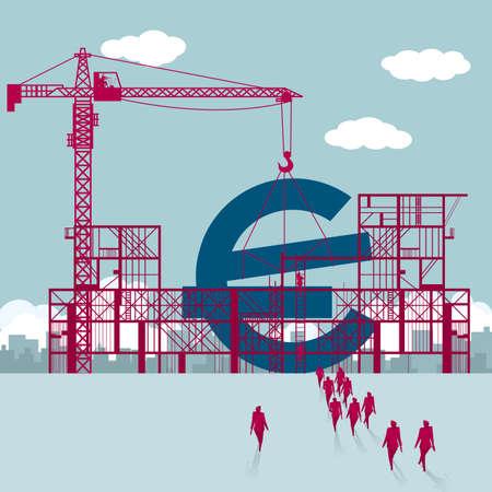Ilustración de Building euro symbol.A group of businessmen walked to the building site. - Imagen libre de derechos