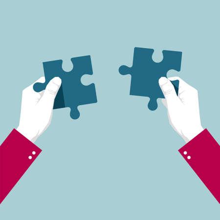 Illustration pour Hands holding puzzles on blue background - image libre de droit