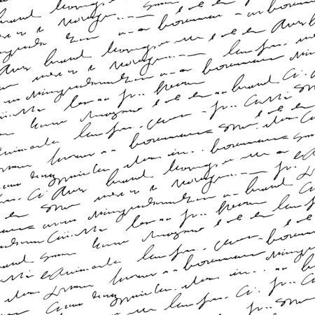 Illustration pour Handwritten abstract text seamless pattern, vector monochrome script background - image libre de droit