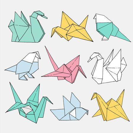 Illustration for Origami birds shapes vector set, hand drawn folder paper art color animal illustration isolated on light background: crane, swan, dove, parrot - Royalty Free Image