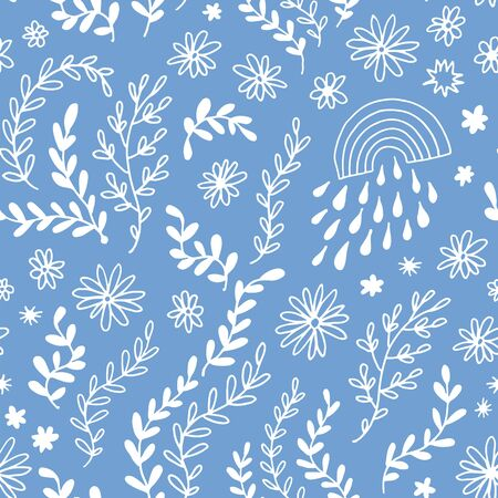 Illustration for Seamless floral pattern, vector flower background - Royalty Free Image