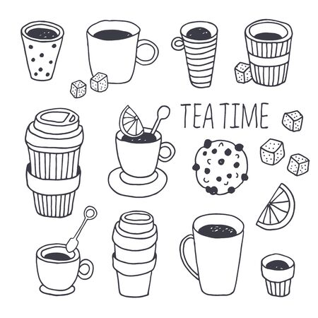 Illustration pour Tea time vector collection, coffee break background, hand drawn doodle plastic coffee and tea cups set with dessert, sugar, lemon, mint isolated on white background with text - image libre de droit