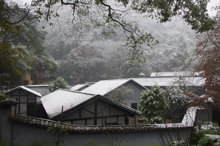 snow scene at village